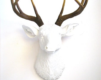 SALE! Faux Taxidermy Deer Head wall mount in WHITE w/ Natural looking antlers wall hanging stag head farm house decor nursery wall decor