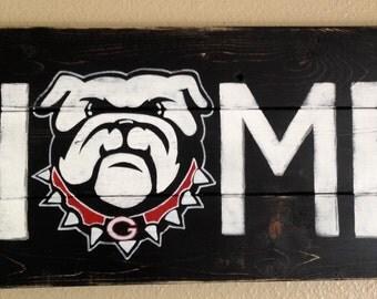 Pick your team-College-Home-Custom-Customizable-Georgia Bulldog Home-Home Sign-Bulldogs