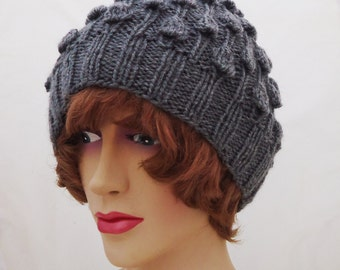 Knit Women Hat, Bubble Knit Hat, Women Beanie, Knit Hat in Grey, Grey Women Hat, UK Seller