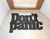 Don't panic floor mat. Funny doormat. Custom rug.