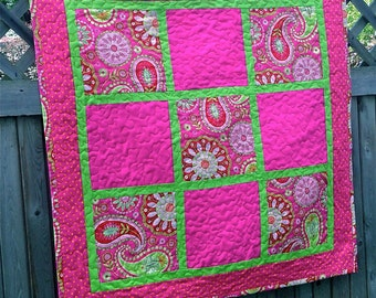 Custom Baby Girl Quilt using Bridesmaid Dress Fabric, Repurposed, Memory, Upcycled - Paisley
