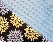Baby Car Seat Canopy COVER or NURSING Cover: Blue, Yellow, White Flower Burst on Gray with Light Blue Minky, Personalization Available