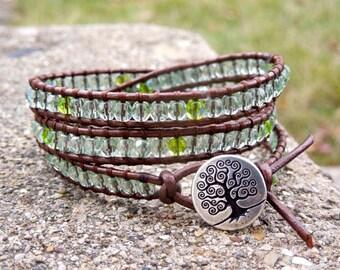 Emerald City Tree of Life - Wrap bracelet, light emerald crystal faceted beads on Metallic Tamba Leather