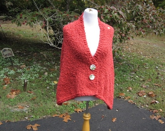 Peach Pink Orange Handmade Wrap  Knit Prayer Shawl Cape with Buttons Small