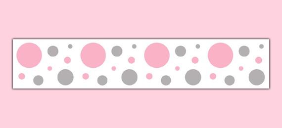 Girl nursery decor pink grey gray polka dot wallpaper border