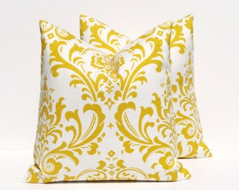 Yellow Pillows. Toss Pillow Cover. 18x18 pillow cover Pillow.Decorative Pillow Covers. Throw Pillow Covers. Yellow.Printed fabric both sides