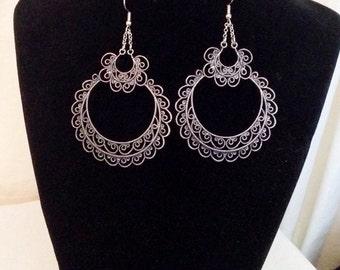 Silver lace chandelier dangle gypsy earrings