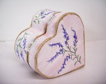 Heart Little Gift Box English Lavender Painted Ring Box Heart Shaped Wood Engagement Victorian Pink Herb Small February Gift Rustic  Wedding