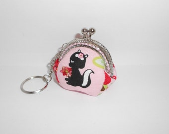Pink skunk hedgehog  fruit coin  /change pouch/purse/wallet w bubble metal frame
