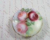 CHINA STUD BUTTON, Hand Painted, Late1800's Victorian Roses, Gold Enameled Rim, Vintage Sewing, Clothing, Jewelry Supply