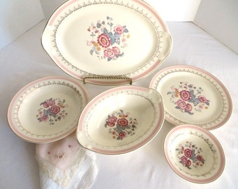 Five Piece Serving Set Pink Floral Pattern Taylor-Smith-Taylor China (1947)