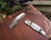 5pcs raw Brass  plating silver feather Filigree hair comb  pin  finding