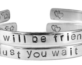 Personalized Winnie the Pooh Quote Bracelets - Friendship Bracelets - We Will Be Friends Until Forever, Just You Wait and See - Customizable