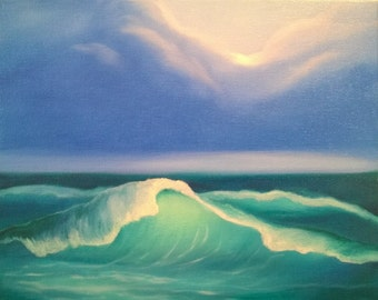 Waves at Night Study #1 - Oil on Canvas Panel -  8 x 10 inches
