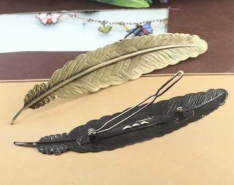 3PCS antique bronze 110x24mm frog hair clip with feather filigree components- X07331