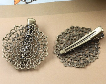 10PCS Antique bronze 32mm hair clip with filigree componnets- X07384