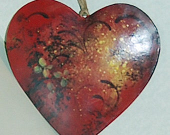 hearts in red earth tones