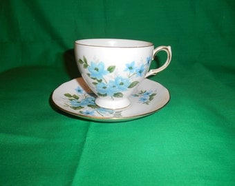 One (1), Bone China, Footed Teacup and Saucer, from Queen Anne China, in the 8466 Pattern.