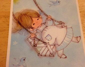 Swinging Girl Birthday Card