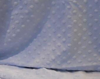 Minky Dot Fabric, Soft Baby Blue, Yardage