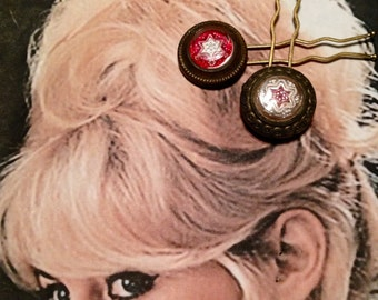 Star Hair Pins, Cowgirl Rustic Red Vintage Recycled Reverse Painted Essex Glass