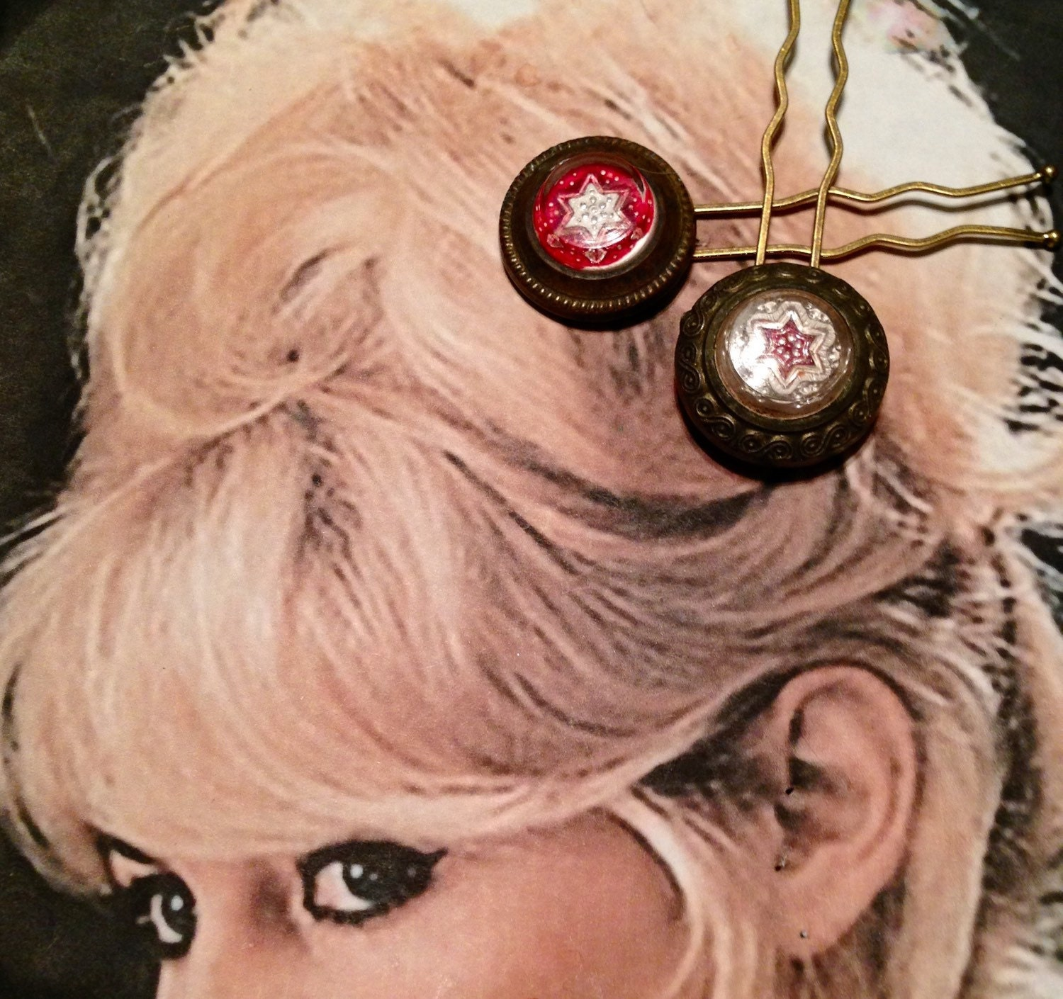 Star Hair Pins Cowgirl Rustic Red Vintage Recycled Reverse