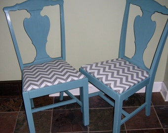 Pair of Vintage Kitchen or Dining Chairs  Painted Teal with Chevron Seat