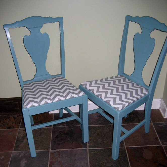 Pair Of Vintage Kitchen Or Dining Chairs Painted Teal With