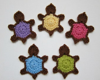 """1pc 3.5"""" Crochet Brown TURTLE Applique"""