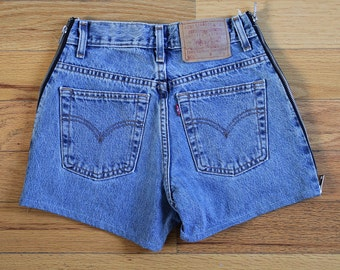 Reworked Vintage Levis High Waisted shorts zips on sides