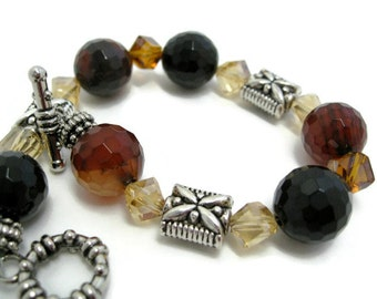 Agate Bracelet beaded statement facet cut gemstone beads amber crystal toggle bracelet  agate jewelry onebluedragonfly