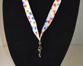 Paw Print ID lanyard, badge reel, stethoscope clip or wristlet