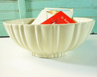 Creamy White Haeger Oval Ribbed Planter Made in USA
