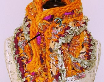 Handknit and Handspun Infinity Scarf- Sunflower Rose Garden