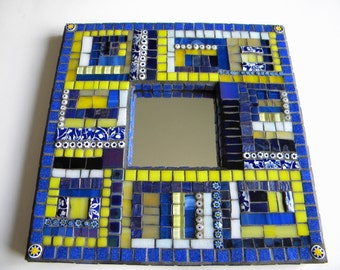 Cobalt and Yellow Mosaic Mirror, Square Mirror, Home Decor, Blue and Yellow Team Colors, Engagement Gift, Beach House Decor, Blue China