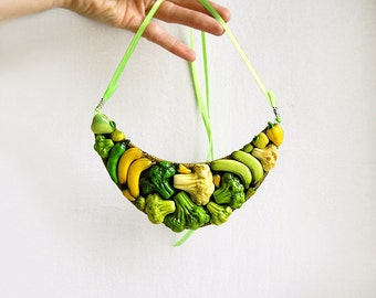 Statement Necklace Happy Vegetables, yellow and green vegetables jewelry, bib chunky necklace, vegetarian jewelry