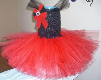 Red and Black Christmas Flower Girl Tutu Dress