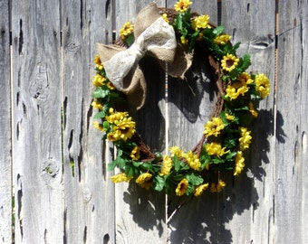 "Yellow Sunflower and Grapevine Spring Summer Wreath- 20-22 "" across"