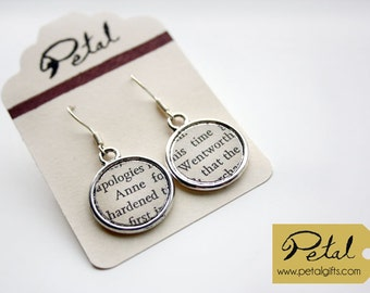 Anne and Wentworth earrings - Jane Austen - Persuasion - literary gift - classics - literature - bookmarks and necklaces also available