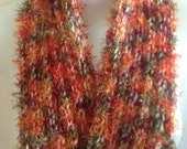 Scarf Autumn Color Hand Knit Orange Green Gold Soft Fuzzy