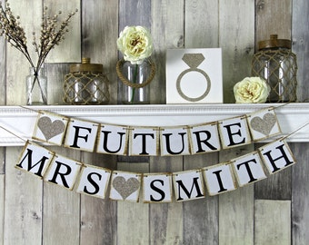 Future Mrs Banner, Bridal Shower Banner, Bachelorette Banner, Engagement Banner, Champagne Wedding