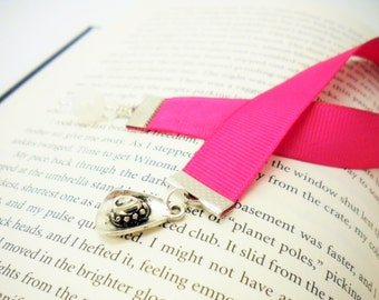 Pink Grossgrain Ribbon Bookmark with Cowgirl Hat Charm / Gifts under 10 / Stocking Stuffers