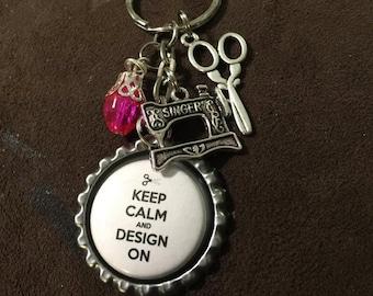 Keep Calm and Design On - Keychain