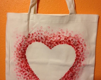 Painted Dot Heart Canvas Tote
