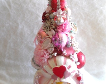 Valentine Gift Decoration Pink Bottle brush tree, Vintage Relpo planter, Shiny Brite, Poland Ornaments, Rhinestone & Pearl Jewelry