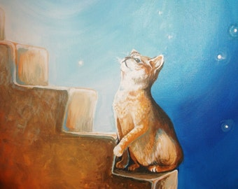 Chasing the Light, digital download jpeg 3MB, guiding a kitty soul to heaven, ethereal cat art, pet loss art