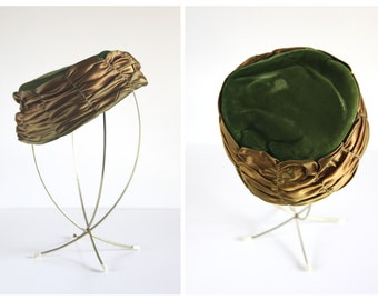 SALE ITEM 45% OFF Sale Item /  Pillbox Style Moss Green Velvet & Bronze Satin 1950s Vintage Hat / Formal Millinery