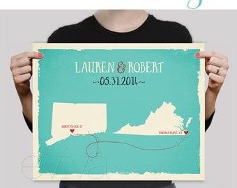 Custom Wedding Print Destination Wedding Gift  Memento Marriage Couple print Signature Guest Book alternative USA States Map Signature Map