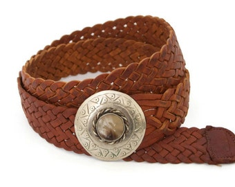 Vintage 70's Brown Leather Belt w/ Agate Buckle
