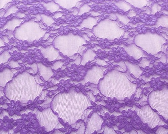 Giselle Stretch Floral Lace Purple 58 Inch Wide Fabric by the Yard, 1 yard